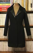 SUMARIE black leather sleeves wool crepe coat jacket UK8-10 knee length