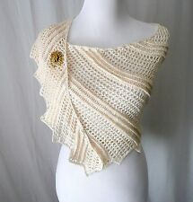 Crochet White Shawl Wrap  DRAGON WING Vintage Leaf Brooch