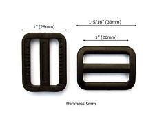 """PH16B-BK 100pcs 1"""" BLACK Plastic backpack slides Tri-glide strap adjuster buckle"""