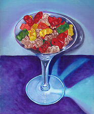 GUMMY BEARS MARTINI 8x10 Signed Art PRINT of Original Oil Painting by VERN