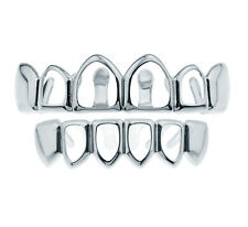 Grillz Silver Plated 4 Open Face Hip Hop Bling Top & Bottom Set Teeth Grills