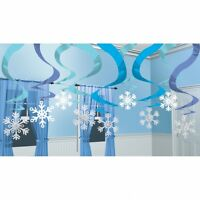 15 Snowflake Hanging Swirls - Frozen Winter Wonderland Christmas Decorations