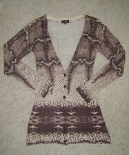 Ladies Brown Beige Snake Animal Print Longline Cardigan S/M UK 10 Used