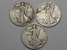 3 Walking Liberty Half Dollars: 1918, 1918-d & 1918-s.  #7