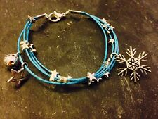 Silver Plated Star Cord Bracelet Pendant Charms Christmas Snowflake Blue