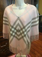 BURBERRY LONDON Wool/ Cashmere Blend Nova Check Poncho - One Size - EXCELLENT