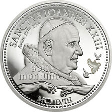 POPE JOHANNES XXIII CANONIZATION Religious People Silver Coin 2014 Cook Islands