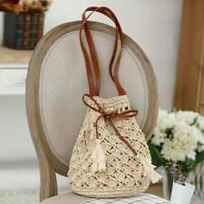 Fashion Womens Sweet Bohemian Beach Straw Bucket Handbag Shoulder Bag Beige
