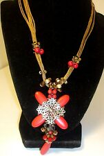 "Chico's necklace 16 "" long multi brown rope chain  w/ white,red,gold beads NWT"