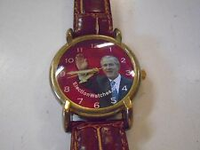 George W Bush President Election Watch Red 2004 Wristwatch Leather Working
