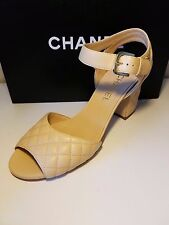 """Chanel 16P Beige Leather Open Toe """" CC"""" Quilted Ankle Strap Sandal Shoes 39EU"""