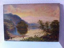 Antique Oil Painting on Canvas - Landscape Lake - Signed A. Crowther 1883