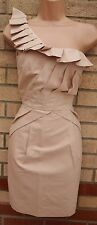 OASIS BELLE LIGHT DUSTY PINK ONE SHOULDER RUFFLE CORSET BODYCON PARTY DRESS 10 S