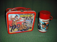VINTAGE 1973 EMERGENCY METAL LUNCH BOX, LUNCH PAIL & THERMOS SET. VERY RARE.