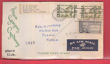 25 cen airmail rate to KOREA with receiver Canada cover 1968
