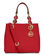 NWT Authentic Michael Kors Saffiano Leather Small Cynthia NS Satchel Purse ~Red