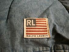 ~RALPH LAUREN VINTAGE DENIM FLAG FULL/QUEEN COMFORTER FEW WELL DONE TINY MENDS
