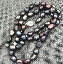 Rare! 8-9MM black Akoya Cultured Pearl Baroque Necklaces 18""