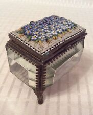 Antique French Micro Mosaic Glass Box , Casket Trinket Box. Repair Required