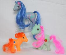 3- 1 My Little Pony 2 Fakie Lot 1988 Blue Flowerburst Orange Seafoam Green