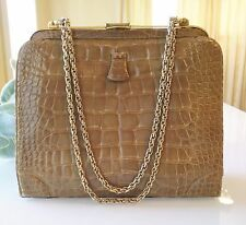 RARE Lucille de Paris Kelly Porosus belly alligator bag in blonde caramel color