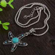 DF3 Textured Silver Turquoise & Crystal Starfish Pendant Crystal Necklace