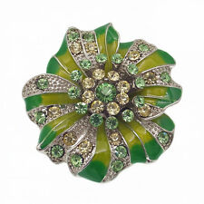 Flower Floral Paved Cocktail Finger Stretch Ring Epoxy Rhinestone Crystal Green