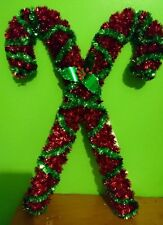 New Christmas Tinsel Red Green  Candy Cane Hanging Decoration  Indoors Out Doors