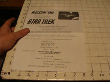 RICON'86 20th anniv of STAR TREK flyer, Warwick RI