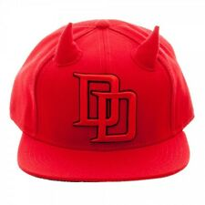 OFFICIAL MARVEL'S DAREDEVIL SYMBOL WITH HORNS SNAPBACK CAP WITH PRINTED VISOR