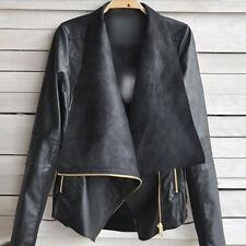 Sexy Ladies Womens Slim Biker Motorcycle Faux Soft Leather Zipper Jacket Coat