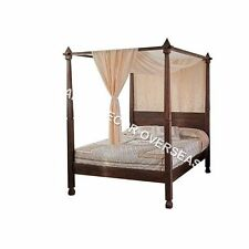 Ethnic King Size Bed with 4 Posters and 2 Side Tables of Wood in Brown Colour