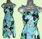 *MONSOON*Green/Grey/Purple/Blue/White Floral Print Straps Prom Dress sz-10 EU-38
