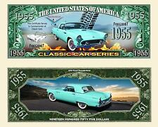 Blue 1955 Ford Thunderbird Dollar Bill Collectible Fake Funny Money Novelty Note