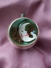 Vintage Diorama Christmas Tree Ornament Man in the Moon and Dog RARE Blown Glass