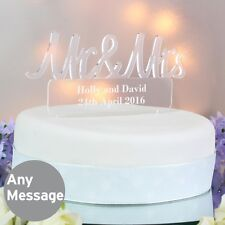 Personalised Wedding Mr & Mrs Acrylic Cake Topper Keepsake - 2 lines of text