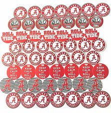 "SET of 56- 1"" PRECUT ""ALABAMA CRIMSON TIDE"" Bottlecap images."