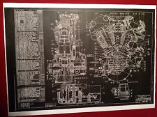 Harley Davidson Knucklehead Motor Blueprint Poster Print Picture Photo Beer Sign