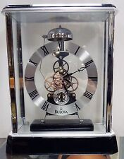 "BULOVA - MANTEL CLOCK ""VANTAGE"" B2023  CHROME FINISH SKELETON CLOCK"