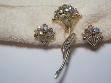 VINTAGE CORO RETRO AURORA BOREALIS RHINESTONE PIN BROOCH & EARRINGS SET