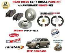 FOR JEEP COMPASS 2006- ON REAR BRAKE DISCS SET + PADS SET + HANDBRAKE SHOES KIT