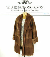 Women's VINTAGE Brown REAL MUSQUASH FUR Long Party DIVA Glam Boho 70's Coat L