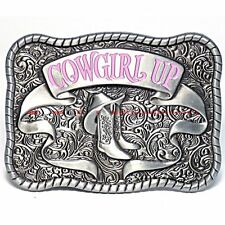 HBU2020 WESTERN COWGIRL UP HAT BOOTS FLORAL ORNAMENTS RODEO HORSE BELT BUCKLE