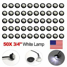 "50X Mini 3/4"" White LED Clerance Marker Bullet Lights Lamp for Truck Trailer Bus"