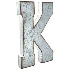 """Large 20"""" Silver Galvanized Vintage Metal Letter K Marquee Free Shipping"""