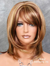 3 Tones Blonde Auburn Red mix Silky Straight Bangs Wig JSDD RS29