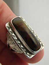 AGATE JASPER PICTURE STERLING RING SZ 4 1/4 ARTISAN HANDCRAFTED RECTANGLE SILVER