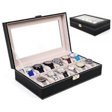 12 Slot Leather Watch Box Display Case Organizer Glass Top Jewelry Storage New +