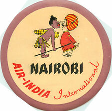 AIR INDIA to NAIROBI - Seldom Seen Old Airline Luggage Label, c. 1955