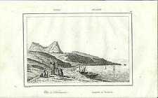 Stampa antica TAORMINA veduta panoramica Messina Sicilia 1835 Old antique print